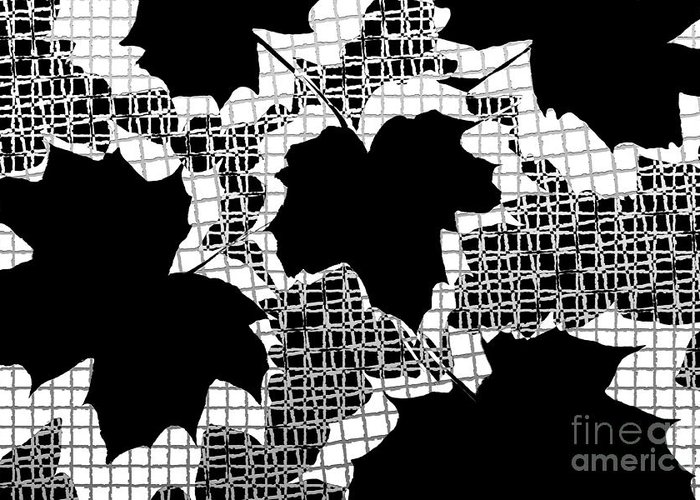 Abstract Greeting Card featuring the photograph Abstract Leaf Pattern - Black White Grey by Natalie Kinnear