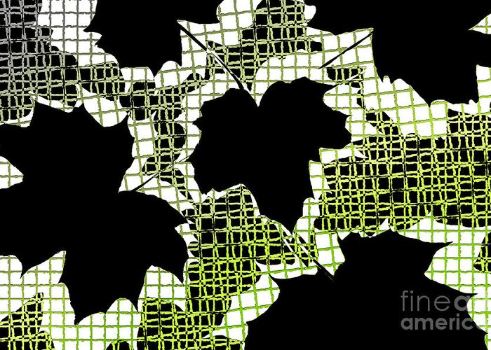 Abstract Greeting Card featuring the photograph Abstract Leaf Pattern - Black White Lime Green by Natalie Kinnear