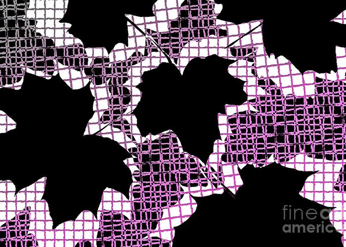 Abstract Greeting Card featuring the photograph Abstract Leaf Pattern - Black White Pink by Natalie Kinnear