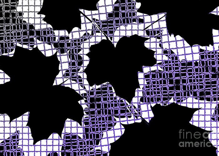 Abstract Greeting Card featuring the photograph Abstract Leaf Pattern - Black White Purple by Natalie Kinnear
