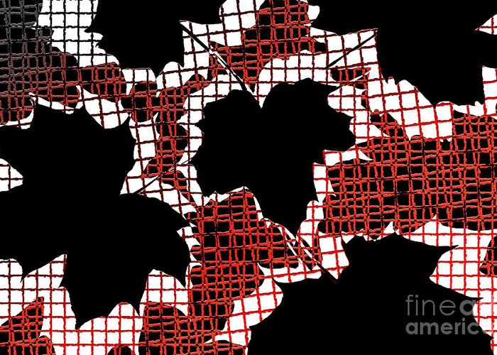 Abstract Greeting Card featuring the photograph Abstract Leaf Pattern - Black White Red by Natalie Kinnear