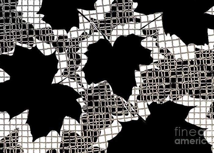 Abstract Greeting Card featuring the photograph Abstract Leaf Pattern - Black White Sepia by Natalie Kinnear