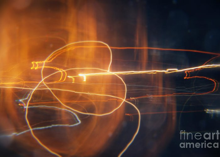 Circles Greeting Card featuring the painting Abstract Light Streaks by Pixel Chimp