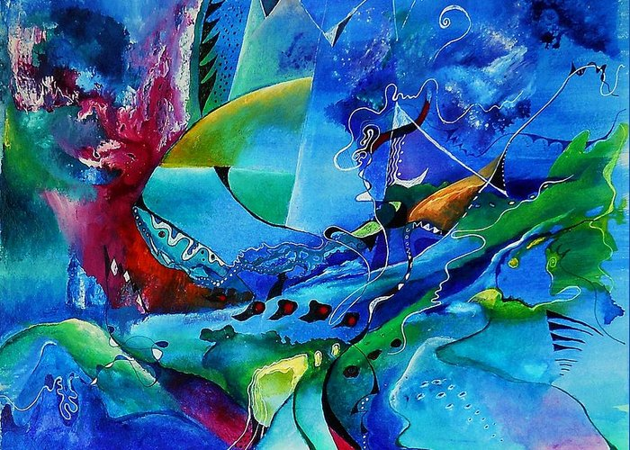 Improvisation Greeting Card featuring the painting Abstract Mindscape No.5-improvisation Piano And Trumpet by Wolfgang Schweizer
