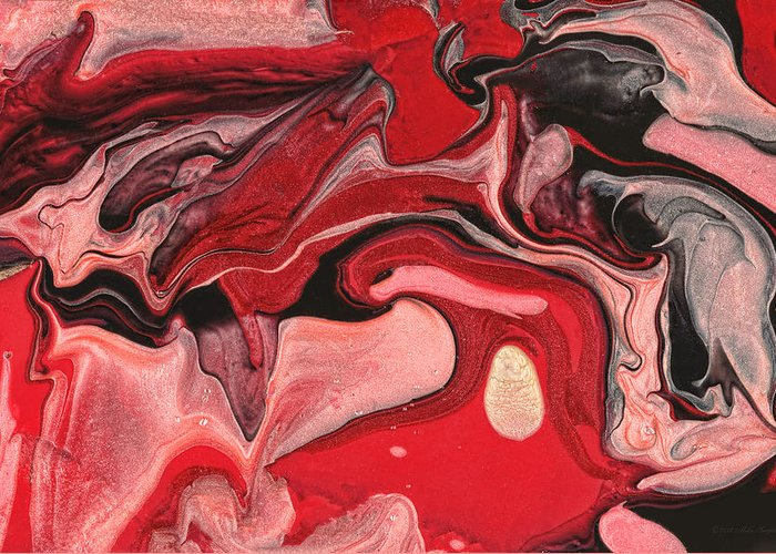 Abstract Greeting Card featuring the painting Abstract - Nail Polish - Raspberry Nebula by Mike Savad