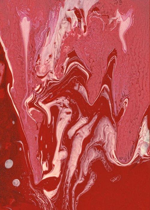 Abstract Greeting Card featuring the painting Abstract - Nail Polish - Tongue by Mike Savad
