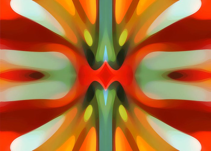 Abstract Greeting Card featuring the painting Abstract Red Tree Symmetry by Amy Vangsgard