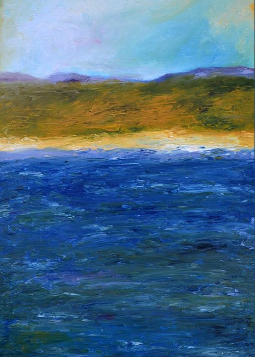 Lake Greeting Card featuring the painting Abstract Shoreline by Michelle Calkins