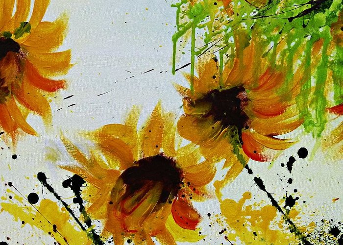 Greeting Card featuring the painting Abstract Sunflowers by Ismeta Gruenwald