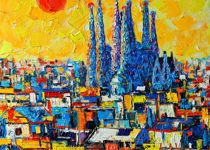 Sagrada Greeting Card featuring the painting Abstract Sunset Over Sagrada Familia In Barcelona by Ana Maria Edulescu