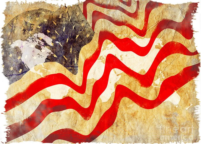 Usa Greeting Card featuring the painting Abstract Usa Flag by Stefano Senise