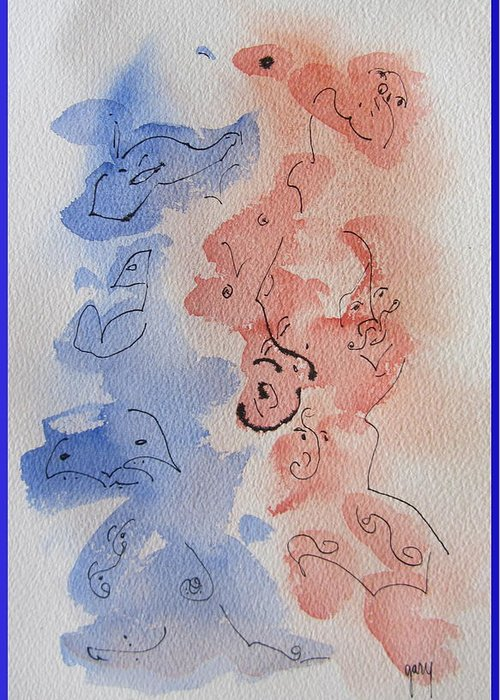 Abstract Greeting Card featuring the painting Abstract Watercolor by Gary Kirkpatrick