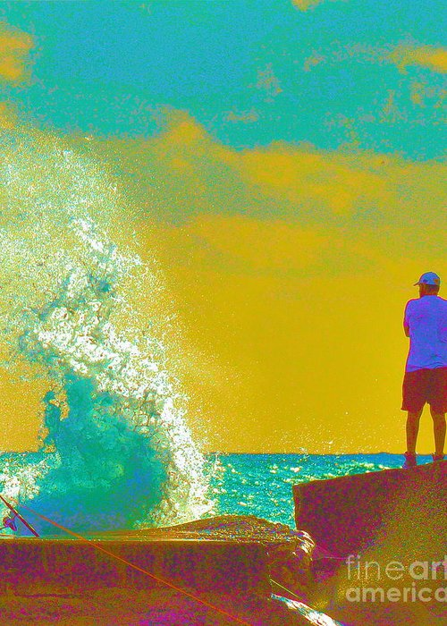 Man Greeting Card featuring the photograph Abstract Wave Crash by David Call