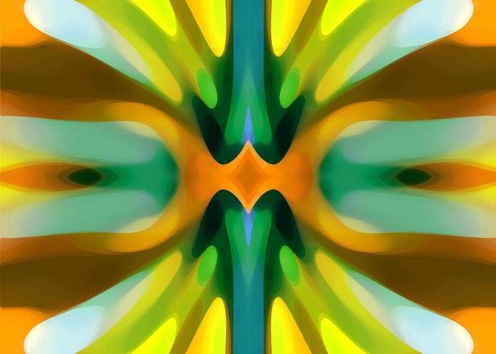 Abstract Greeting Card featuring the painting Abstract Yellowtree Symmetry by Amy Vangsgard