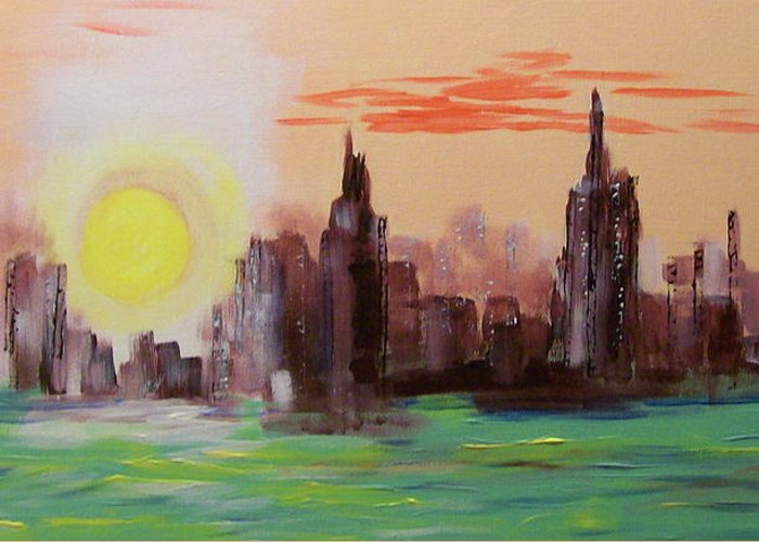 Abstracted Ny Skyline Three Colors White Hudson River View From Jersey City Impressionistic Greeting Card featuring the painting Abstracted Ny Skyline by Rich Mason