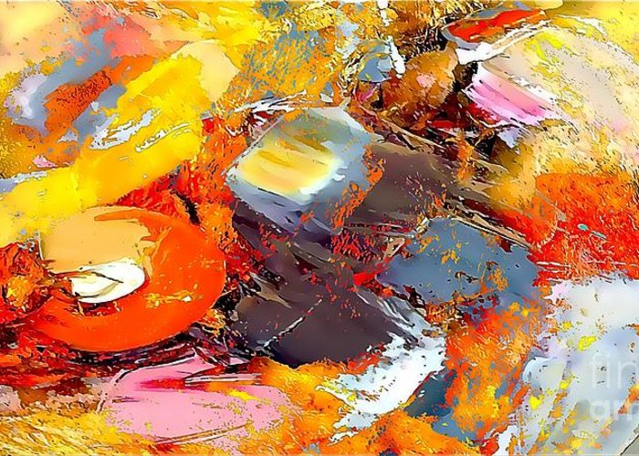 Abstract Greeting Card featuring the painting Abstraction 586-11-13 Marucii by Marek Lutek