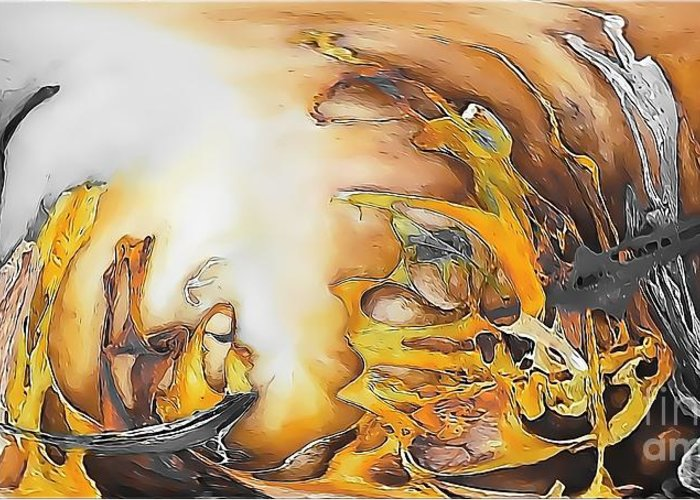 Abstract Greeting Card featuring the painting Abstraction 589-11-13 Marucii by Marek Lutek