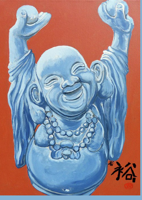 Buddha Greeting Card featuring the painting Abundance by Tom Roderick