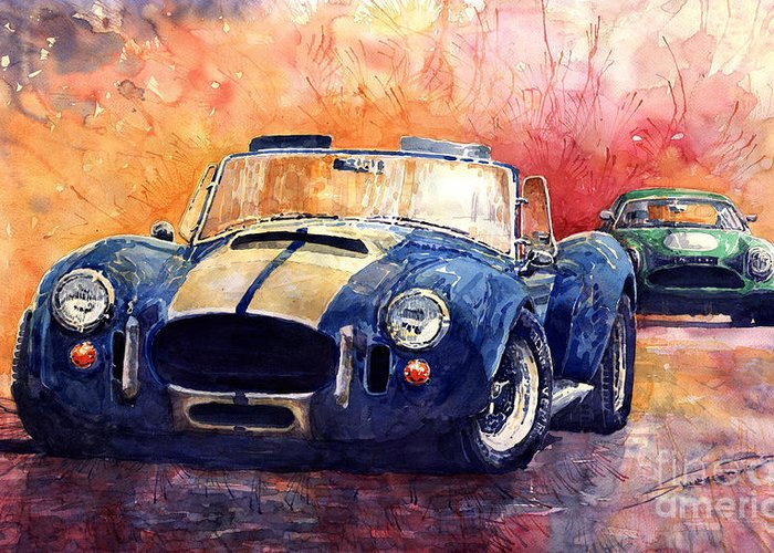 Ac Cobra Greeting Card featuring the painting Ac Cobra Shelby 427 by Yuriy Shevchuk