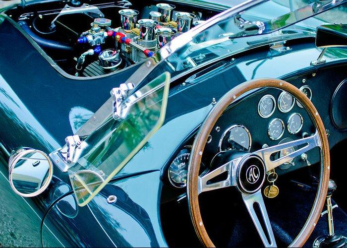 Ac Shelby Cobra Engine - Steering Wheel Greeting Card featuring the photograph Ac Shelby Cobra Engine - Steering Wheel by Jill Reger