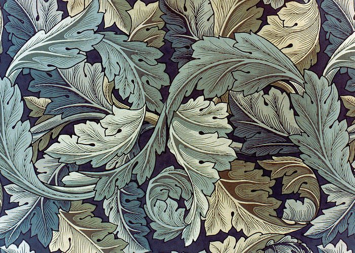 William Greeting Card featuring the tapestry - textile Acanthus Leaf Design by William Morris