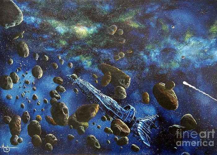 Canvas Greeting Card featuring the painting Accidental Asteroid by Murphy Elliott