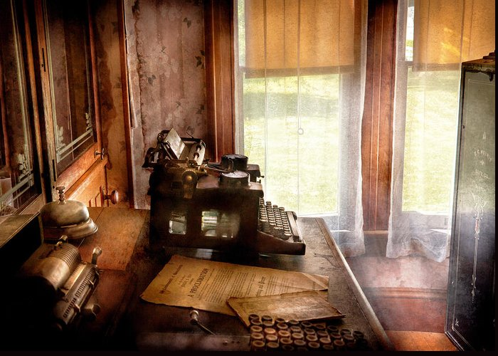 Hdr Greeting Card featuring the photograph Accountant - My Little Office by Mike Savad