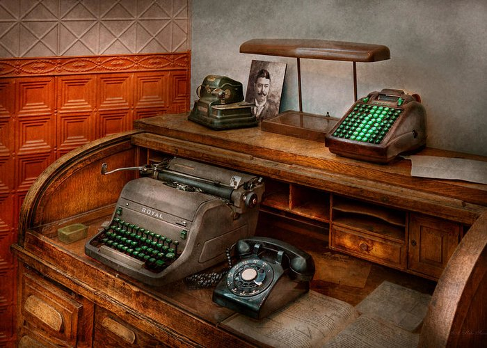 Accountant Greeting Card featuring the photograph Accountant - Typewriter - The Accountants Office by Mike Savad