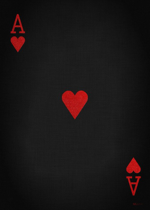 Ace of hearts in red on black canvas greeting card for sale by serge red and black collection by serge averbukh greeting card featuring the digital art ace m4hsunfo