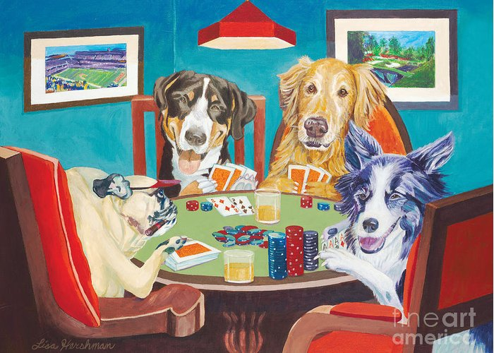 Dogs Playing Poker Wall Poster Art N-528 dogs poker QUALITY CANVAS ART PRINT