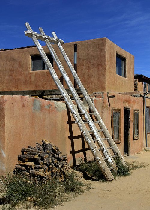 Acoma Pueblo Greeting Card featuring the photograph Acoma Pueblo Adobe Homes 3 by Mike McGlothlen
