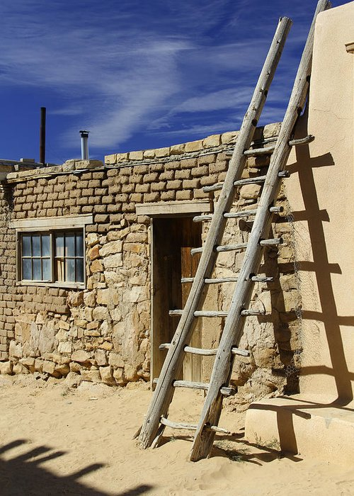 Acoma Pueblo Greeting Card featuring the photograph Acoma Pueblo Adobe Homes 4 by Mike McGlothlen