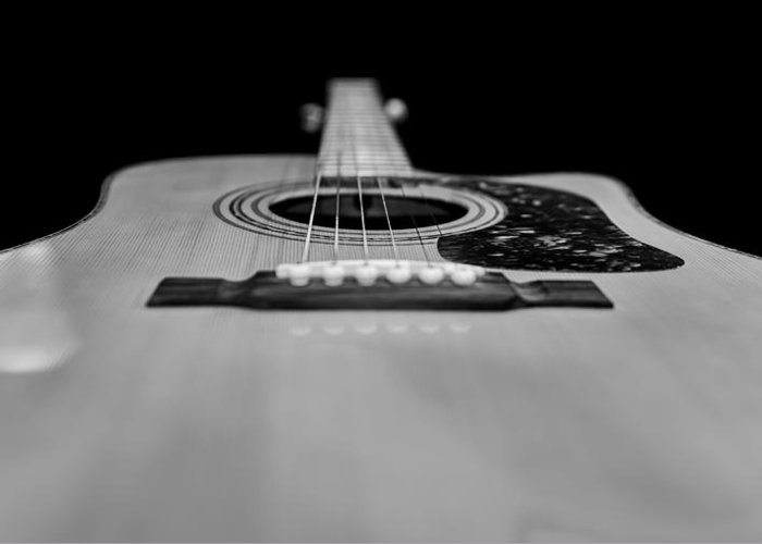 Band Greeting Card featuring the photograph Acoustic Black And White by Steve Stephenson