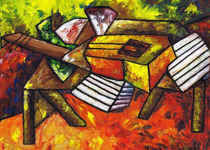 Acoustic Guitar On Artist's Table Greeting Card featuring the painting Acoustic Guitar On Artist's Table by Kamil Swiatek
