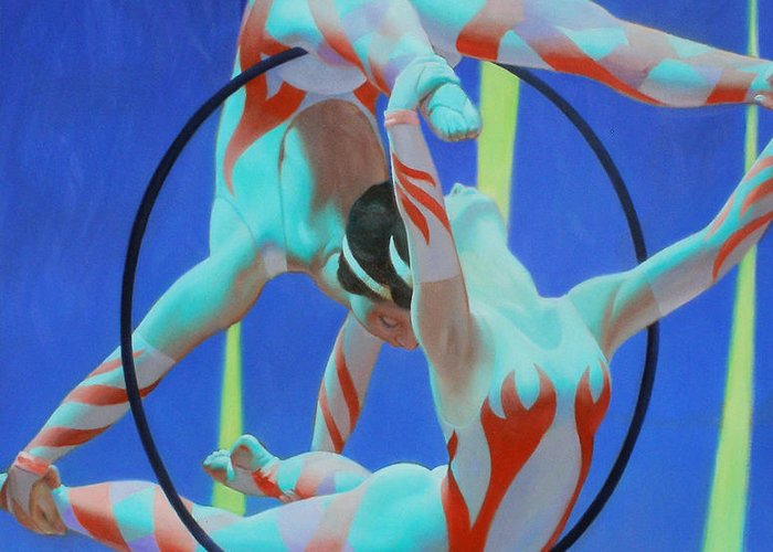 Acrobats Greeting Card featuring the painting Acrobats by Kevin Lawrence Leveque