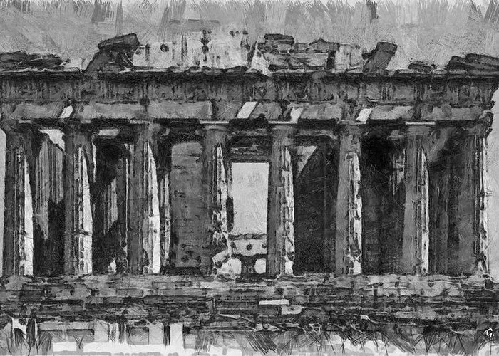 Rossidis Greeting Card featuring the painting Acropolis by George Rossidis