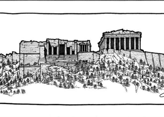 Sketch Greeting Card featuring the drawing Acropolis Of Athens by Calvin Durham