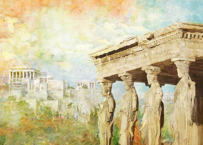 Greecetemple Of Apollo Epicurius At Bassaeacropolis Greeting Card featuring the painting Acropolis Of Athens by Catf
