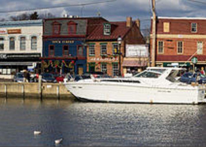 Annapolis Greeting Card featuring the photograph Across Ego Alley Panorama by Benjamin Reed