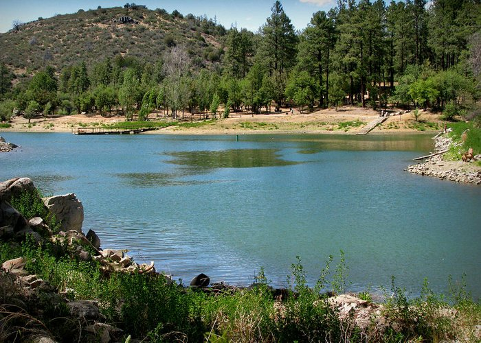 Goldwater Lake Greeting Card featuring the photograph Across Goldwater Lake by Aaron Burrows