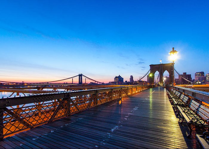 Big Apple Greeting Card featuring the photograph Across The Bridge by Daniel Chen