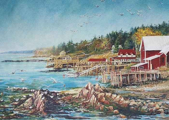 Seagulls Greeting Card featuring the painting Across The Bridge by Joy Nichols