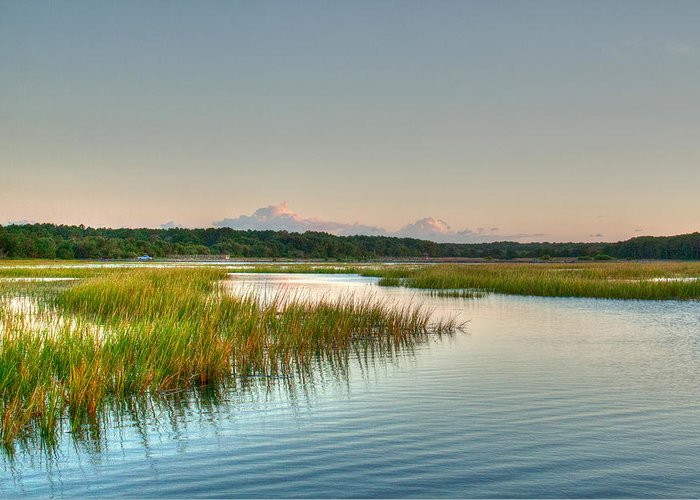 Sunset Greeting Card featuring the photograph Across The Marsh by Angela Moore