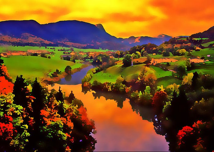 Landscape Greeting Card featuring the photograph Across The Valley by Stephen Anderson