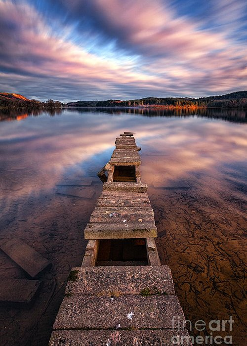 Boat Jetty Greeting Card featuring the photograph Across The Water by John Farnan