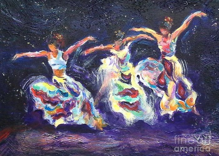 Acrylic Print Dancers Greeting Card featuring the painting Action by Vicki Wynberg