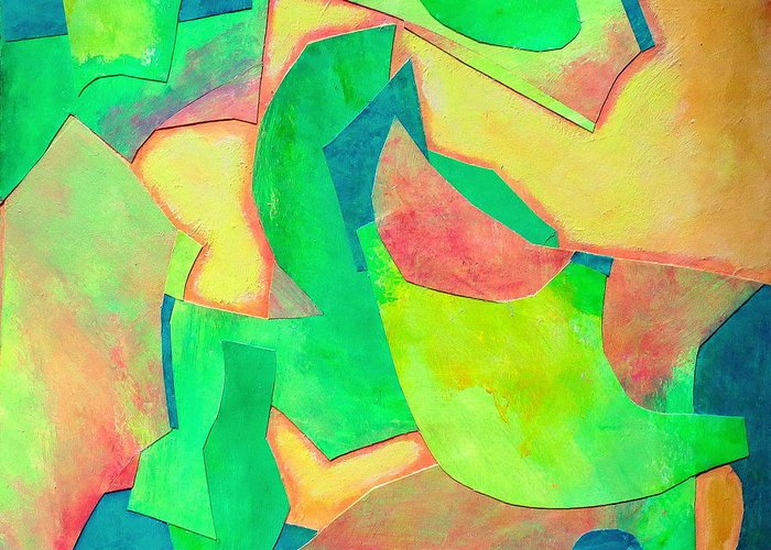 Acrylic Abstract Collage Greeting Card featuring the mixed media Adagio by Diane Fine