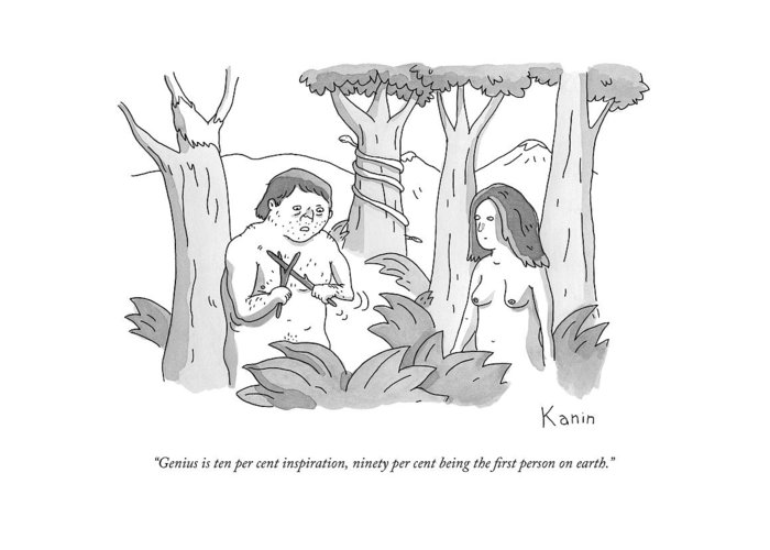 Genius Greeting Card featuring the drawing Adam Plays With Two Sticks In The Garden Of Eden by Zachary Kanin