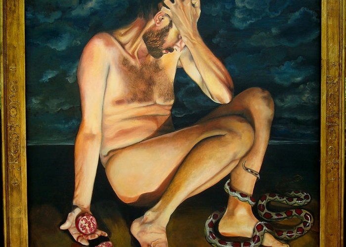 Fall Of Adam Greeting Card featuring the painting Adam Revealed by Teresa Carter