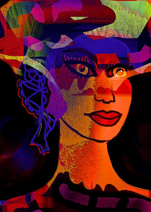 Face Greeting Card featuring the mixed media Adelita by Natalie Holland